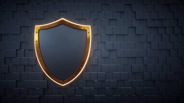 Digital Wall With Empty Shield Concept stock photo