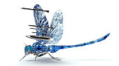 digital war concept electronic computer dragonfly isolated