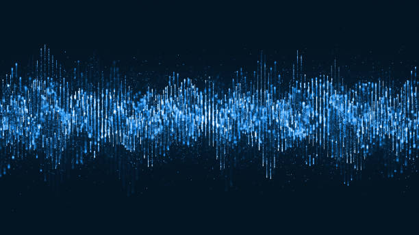 digital wave particles music and small particles dance motion on wave for digital background. - motivo a onde foto e immagini stock
