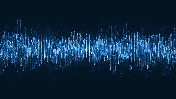 musique numérique de particules d'onde et mouvement de danse de petites particules sur l'onde pour le fond numérique. - motif en vagues photos et images de collection