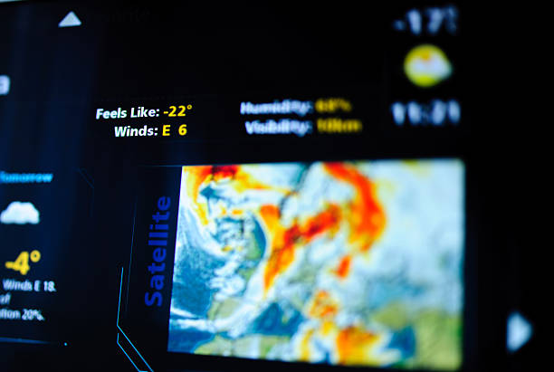digital weather forecast interface - weather stock photos and pictures