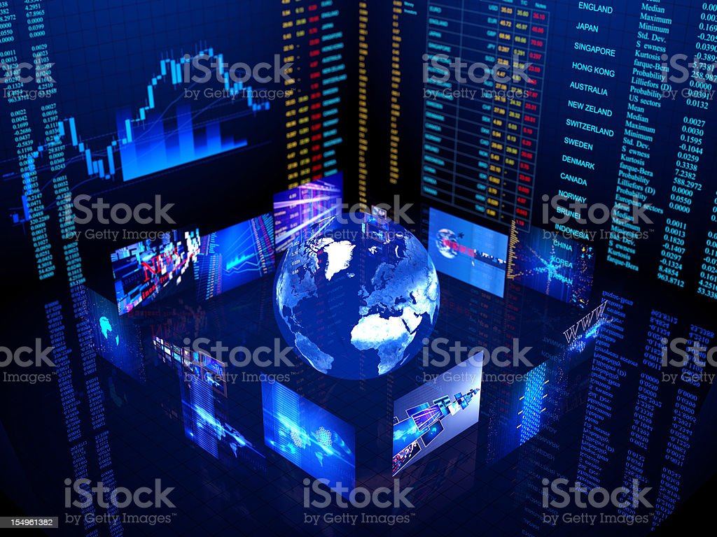 Digital world business center in blue with lights stock photo