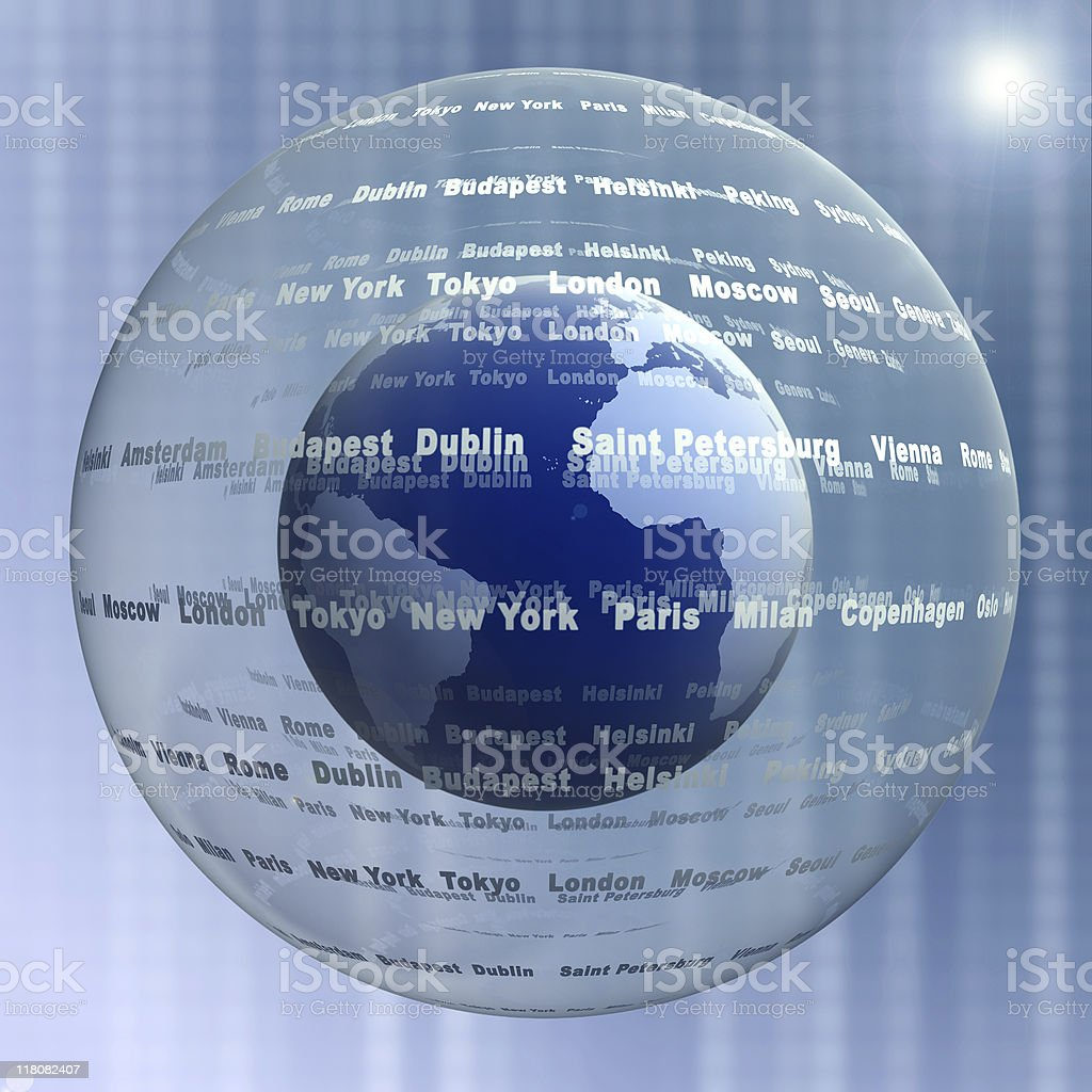 Digital world globe royalty-free stock photo