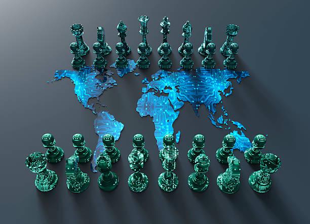 Digitalen Welt Karte Schachbrett mit Schach spielen – Foto