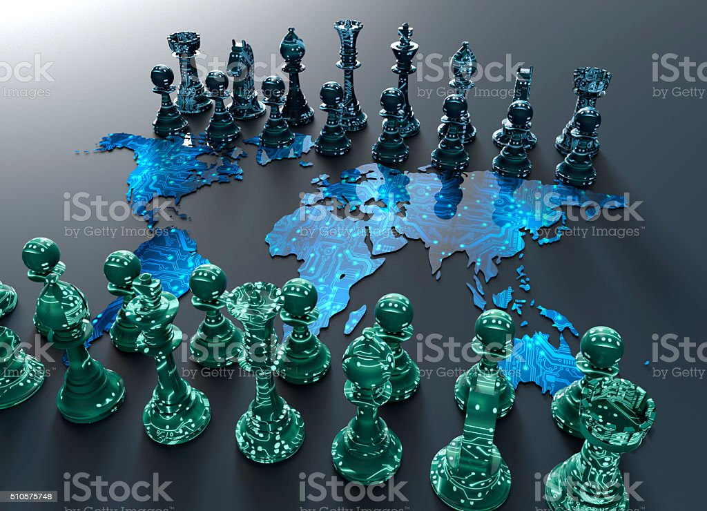 digital world map chess board with chess play stock photo
