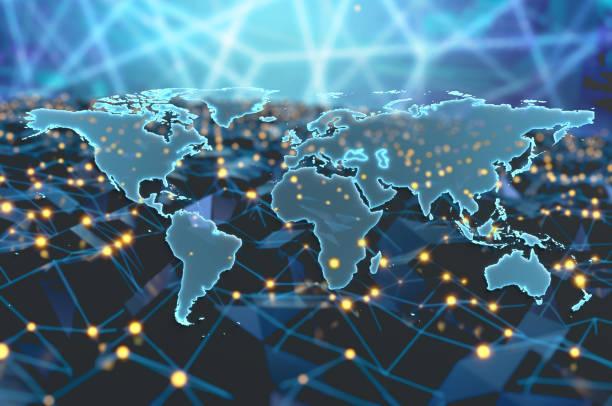 Digital World Map stock photo