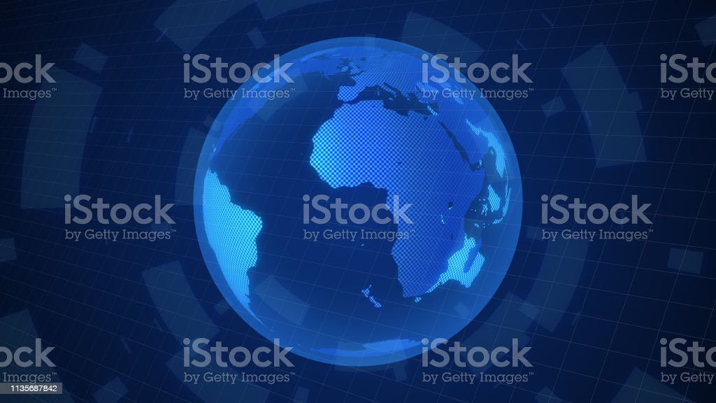 digital world map rotate animation motion graphic worldwide concept