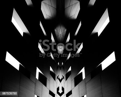 istock Digitally altered image of modern architectural fragment in backlight 587526750