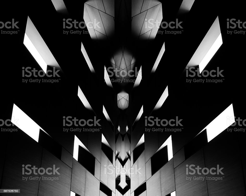 Digitally altered image of modern architectural fragment in backlight stock photo