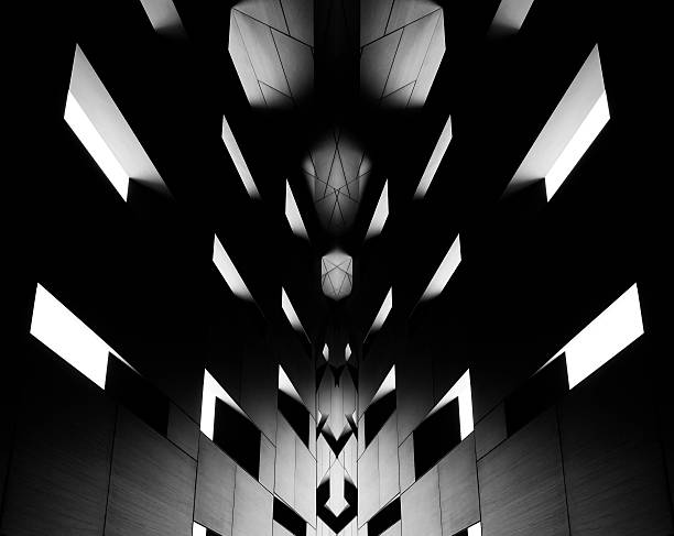 Digitally altered image of modern architectural fragment in backlight - Photo