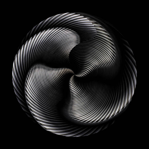 Digitally altered photo of a turbine / engine Abstract mysterious and dynamic round object isolated on black background  propeller stock pictures, royalty-free photos & images