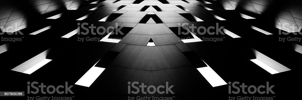 Digitally composed wide-angle photo of architectural fragment in minimalism style stock photo