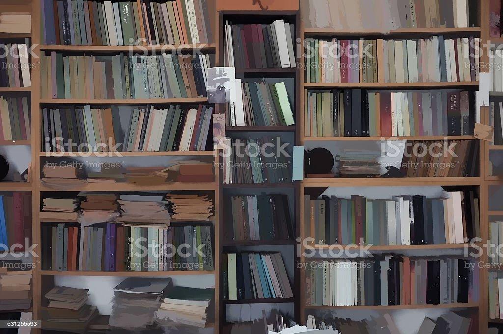Digitally created bookcase royalty free stock photo Digitally