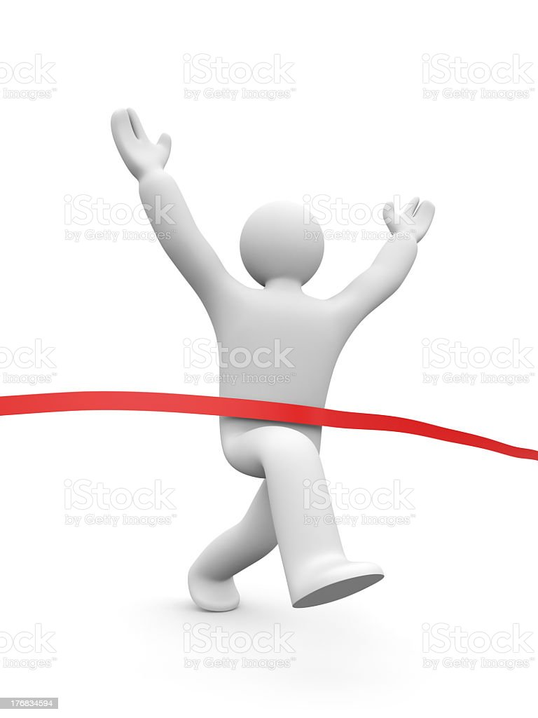 Digitally created person crossing a red finish line tape royalty-free stock photo