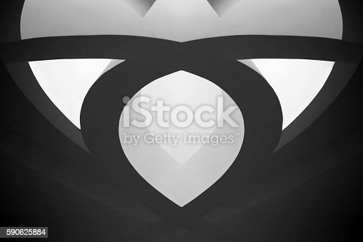 istock Digitally generated backlit caisson ceiling element in Art Nouveau style 590625884