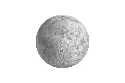 Digitally generated full grey moon on white background