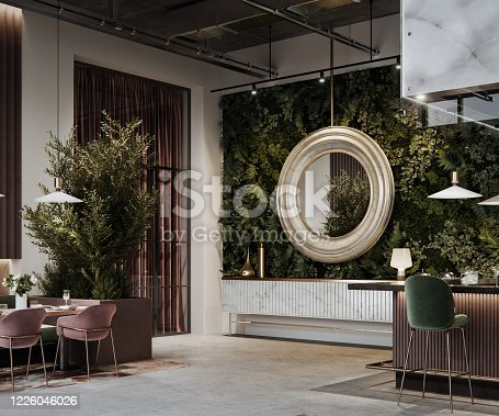 Interior of a luxury restaurant with a large mirror hanging on the wall. Digitally generated image of a restaurant interior.