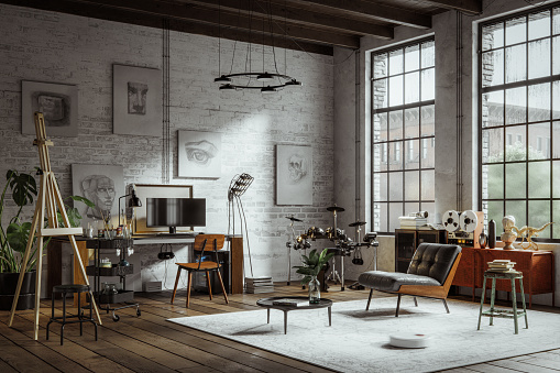 beautiful apartment loft in a new york industrial style