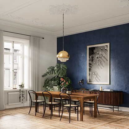 3D render of an elegant dining table in a modern home. Wooden dining table with six chairs and hanging electric lamp.