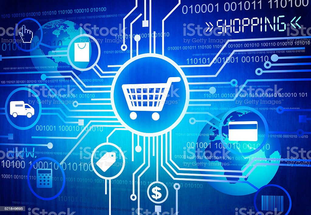 Digitally Generated Image of Shopping Concept Digitally Generated Image of Shopping Concept Blue Stock Photo