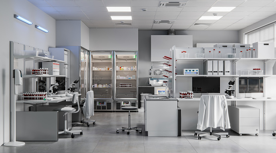 Digitally generated image of the research lab. Interior of a science laboratory with computer desks and microscopes.