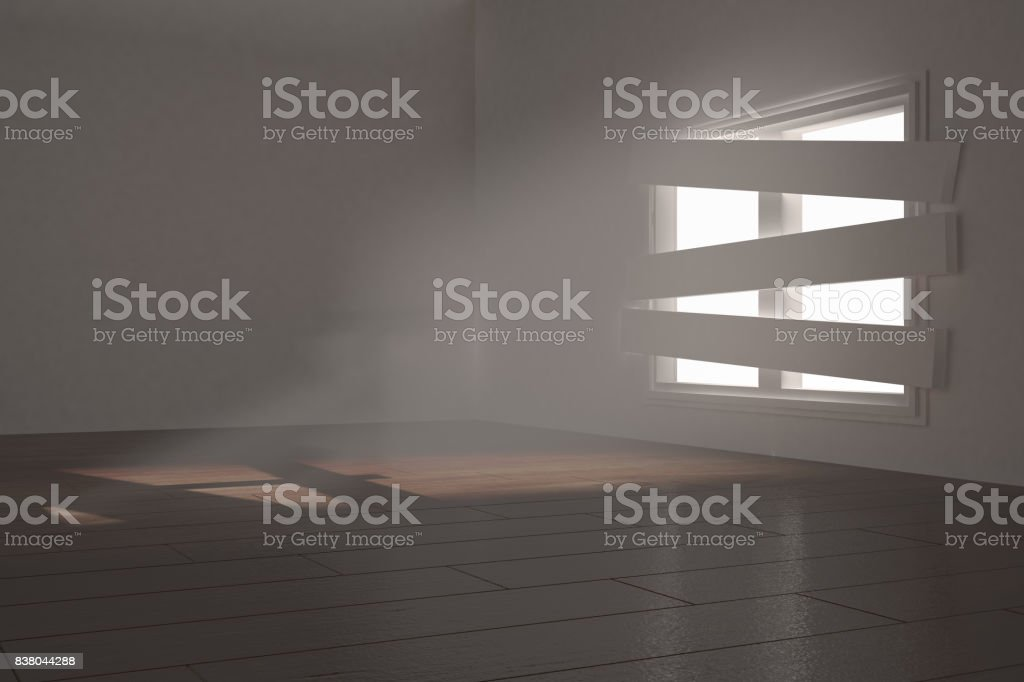 Digitally generated room with bordered up window stock photo