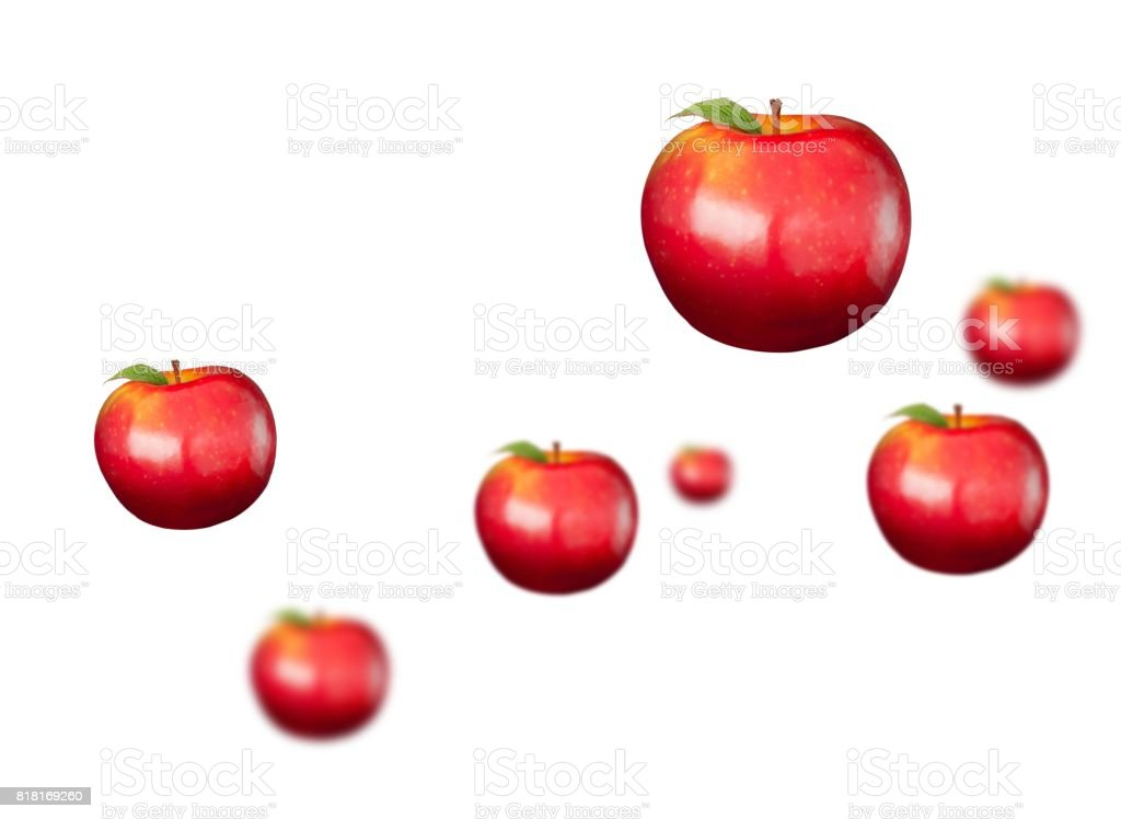 Digitally generated shiny red apples stock photo