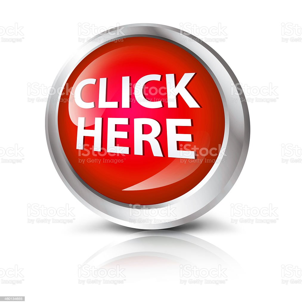 Digitally rendered 3-D red button Click Here with shadow stock photo