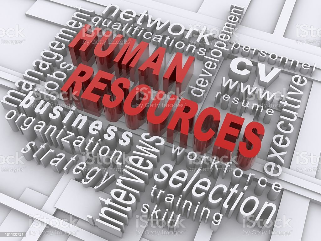 Digitally rendered human resources text cloud stock photo