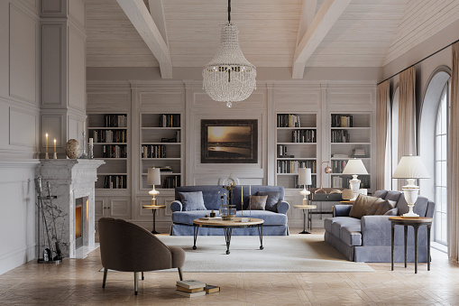 Digital image of a beautiful living room of a large house in the style of a long island house