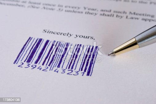 istock Digitally signed with bar code 173804136