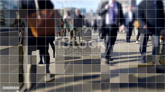 Commuters from the City walking home over London bridge with a cubist digital grid effect.