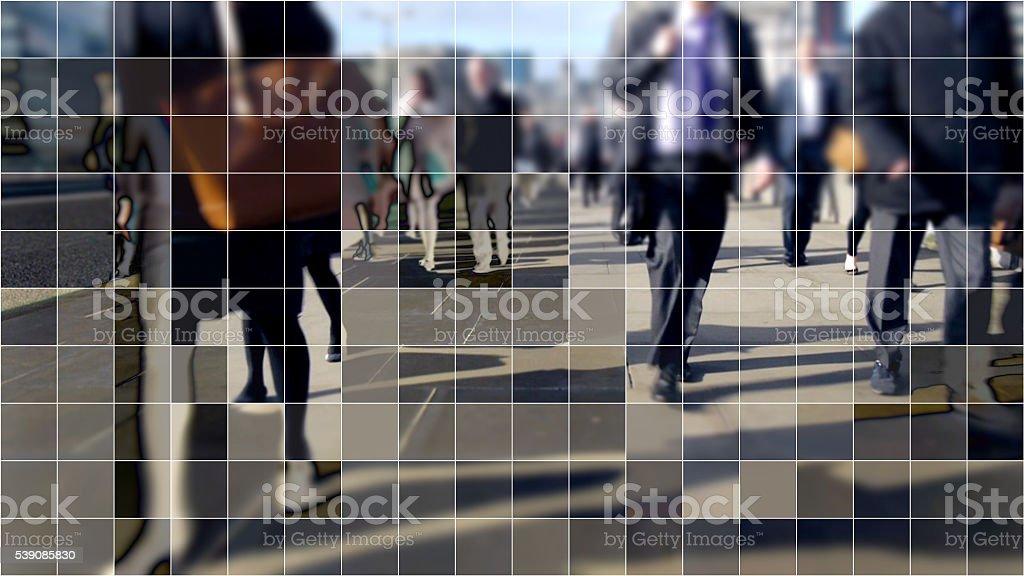 Digitized commuters on London Bridge. stock photo