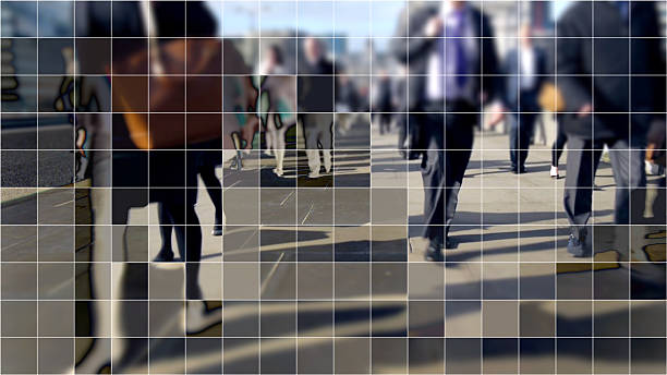 Digitized commuters on London Bridge. Commuters from the City walking home over London bridge with a cubist digital grid effect. digitized stock pictures, royalty-free photos & images