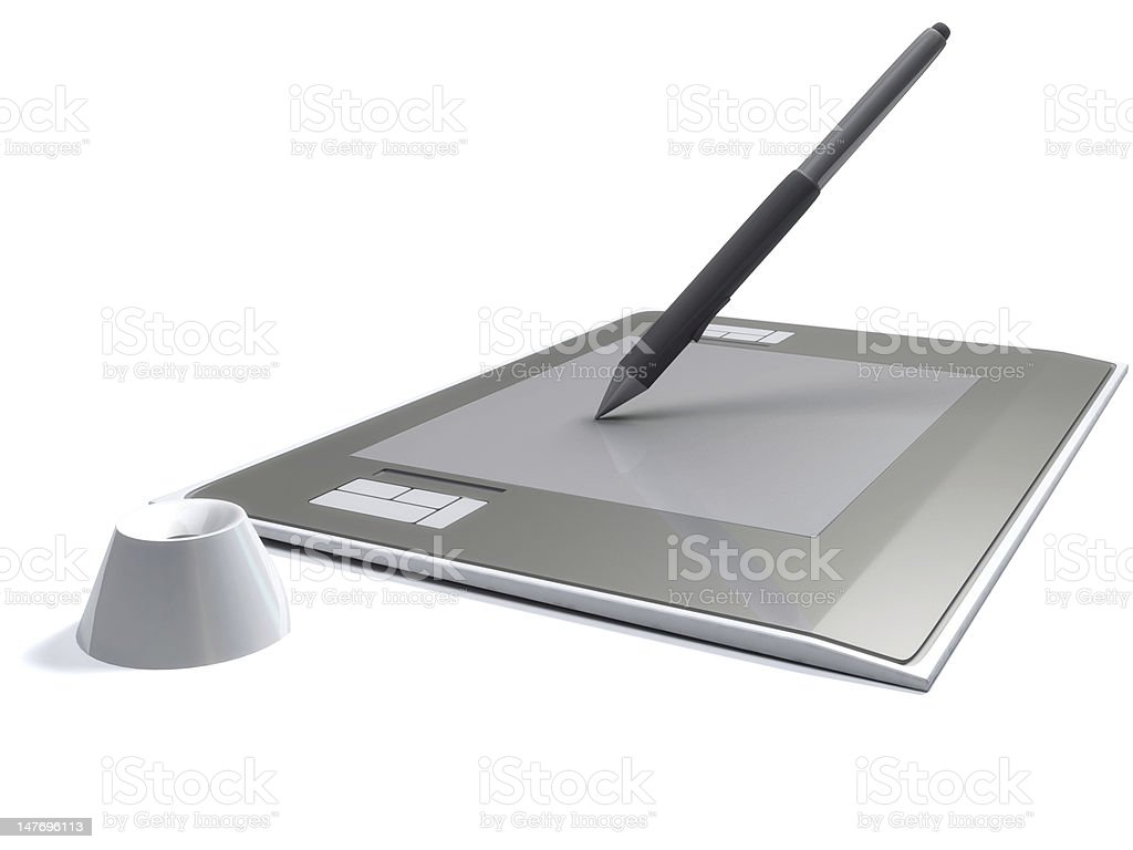 digitizer with pen royalty-free stock photo