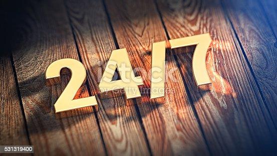 istock Digits 24/7 on wood planks 531319400