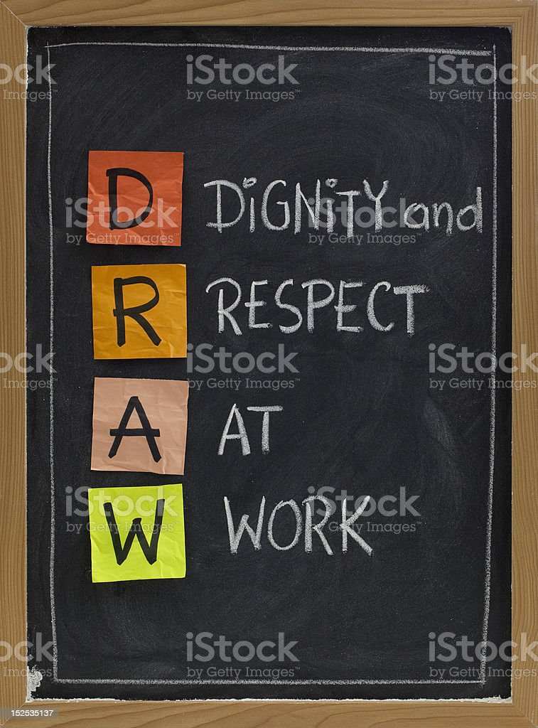 dignity and respect at work stock photo