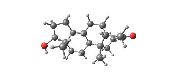 Dihydrotestosterone molecular structure isolated on white – zdjęcie