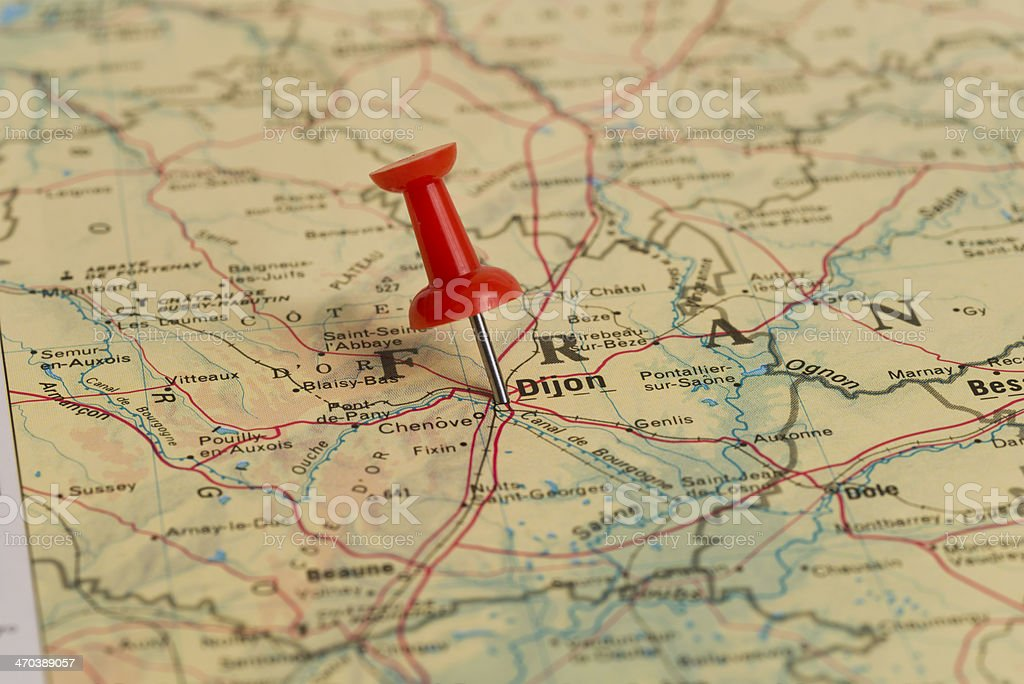 Dijon Marked With Red Pushpin on Map stock photo