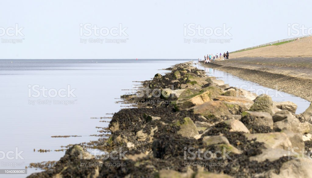 Dike in the Netherlands - Waddensea stock photo