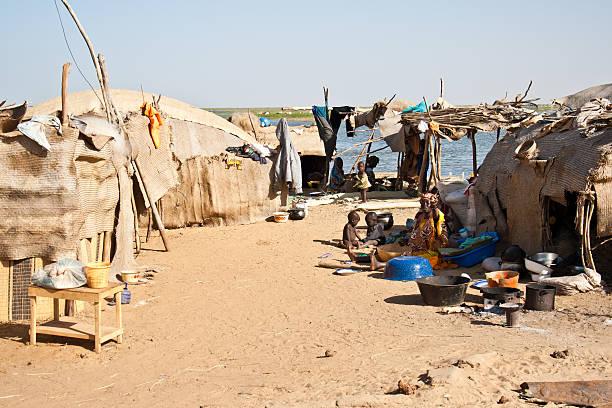 Dilapidated Bedouin village. stock photo