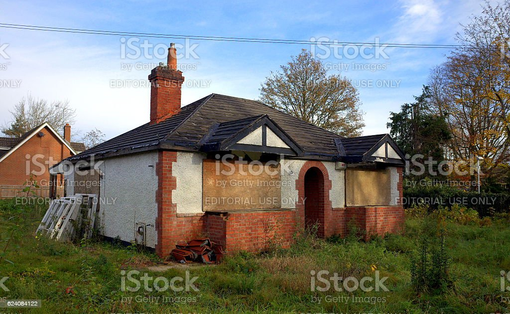 Dilapidated Cottage in England stock photo