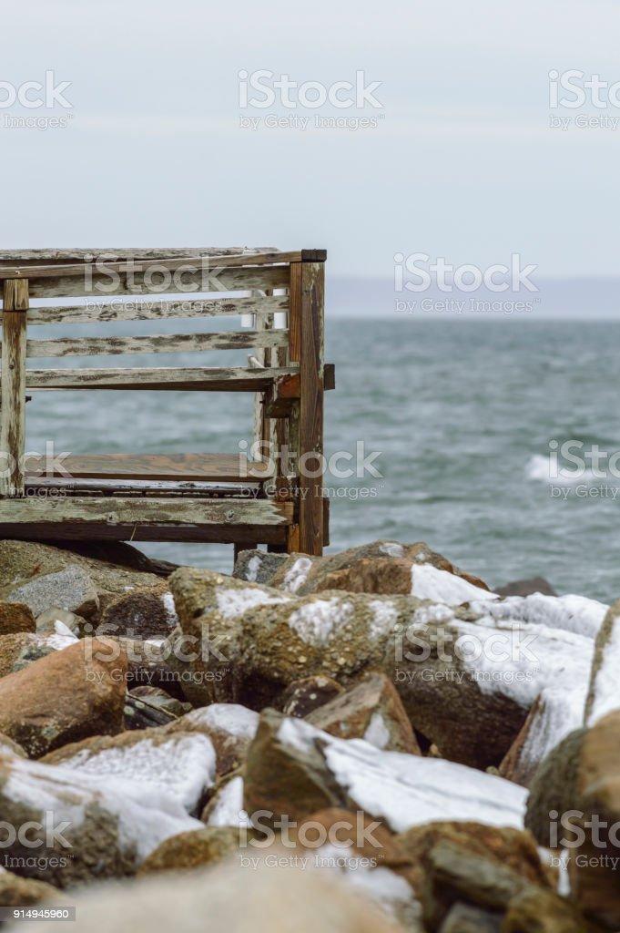 Dilapidated deck on Buzzards Bay stock photo