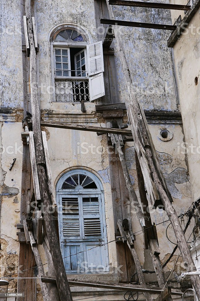 Dilapidated House Stone Town stock photo