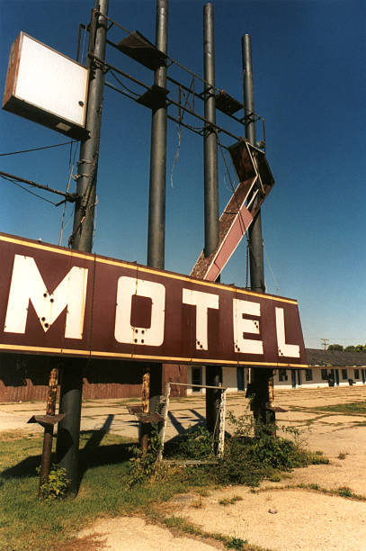 Dilapidated Motel Sign on Route 66 stock photo