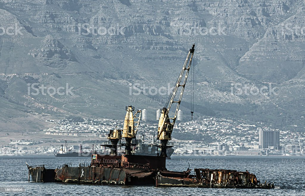 Dilapidated Oil Rig in Front of Cape Town South Africa royalty-free stock photo