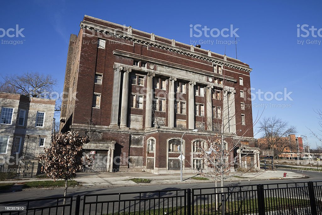 Dilapidated South Side Masonic Temple in Chicago royalty-free stock photo
