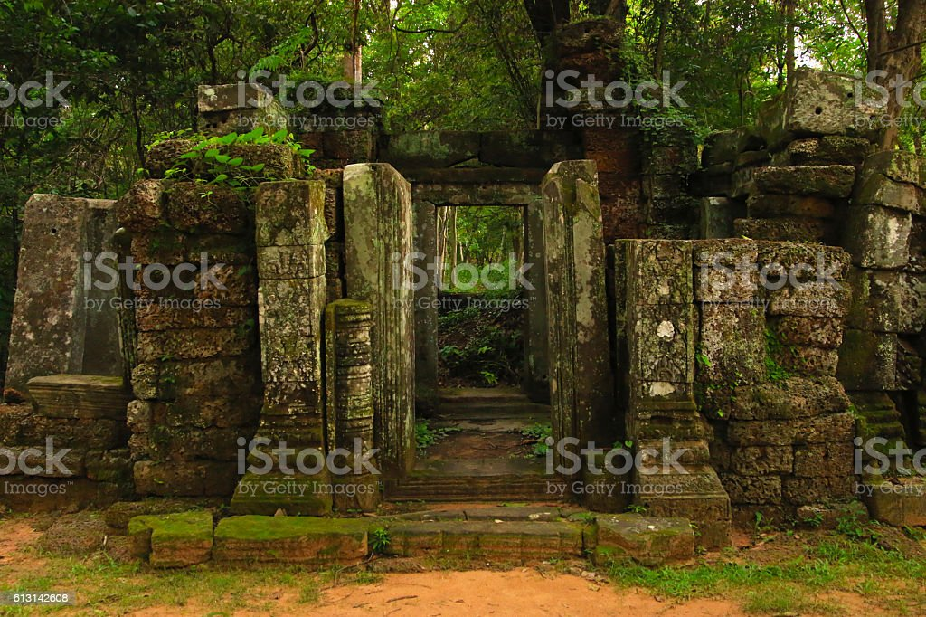 Dilapidated Temple in Forest stock photo