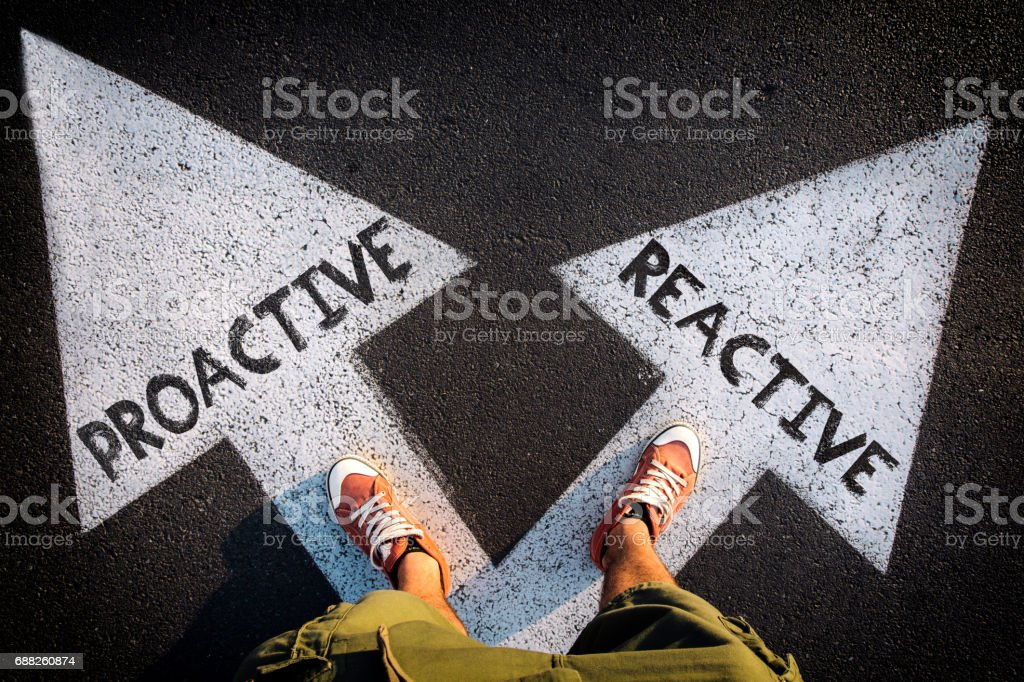 Dilemma concept Red shoes from above on the white arrows,dilemmas concept proactive or reactive Activity Stock Photo