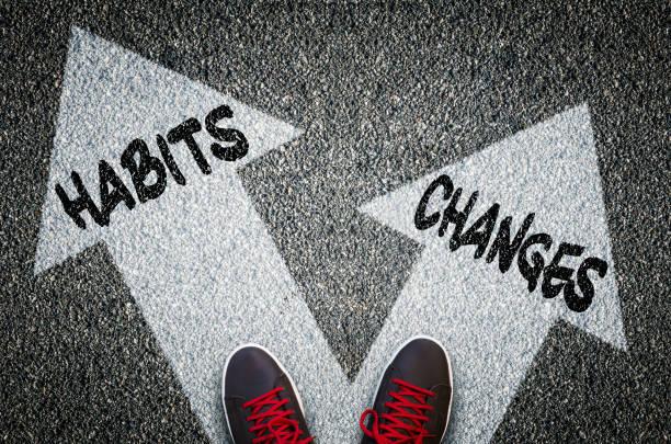 Dilemmas concept habits or changes stock photo